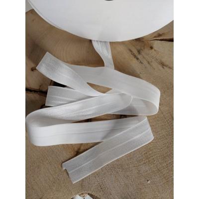 Élastique pliable tissé. FOE, 25mm blanc  10 mètres