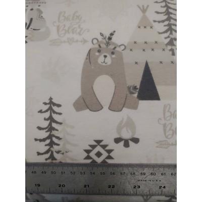 flanelle bébé ours 1 mètre