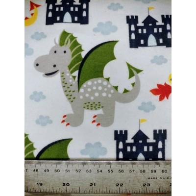 flanelle dragon et château 1 mètre