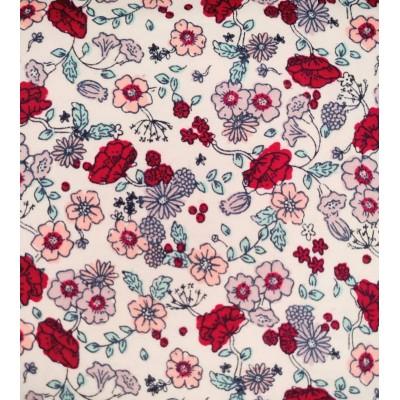 flanelle fleur rouge 1 mètre
