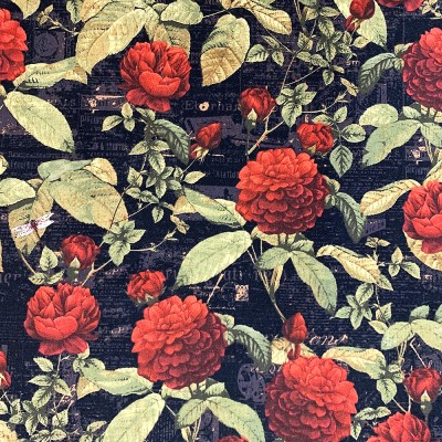 Coton à motif - Grosse Rose Rouge